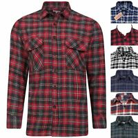 MENS FLANNEL BRUSHED COTTON SHIRTS LUMBERJACK CHECKED PRINT WORKER CASUAL TOPS