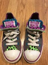 CONVERSE Gray LIME PURPLE BLUE Double Flap Leopard Sneakers Girls Shoes Sz 12 #