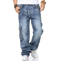 Mens Hip-Hop Jeans Denim Cargo Pants Baggy Loose Skateboard Stonewash Streetwear