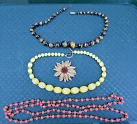 Vintage Costume Jewellery Mixed Lot - 3 Necklaces + a Sarah Coventry Brooch