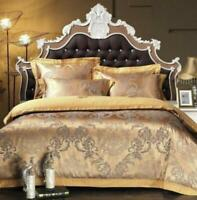 duvet cover pillowcases sheet 100% Cotton Gold Queen/King Satin jacquard bed set