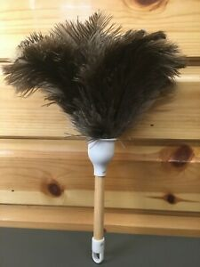 30cms Ostrich Feather Duster Pine Wood NEW HOME GIFT USEFUL