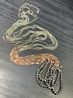 Vintage Bohemian Silver copper marcasite crystal ling Sweater necklace chains