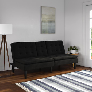 Mainstays Memory Foam Faux Leather PillowTop Futon with Cupholder, Multiple Colo