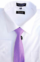 Amanti Men's Classic Dress Shirt Convertible Cuff Solid With Matching Tie(White)