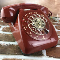 1960's Automatic Electric Red Monophone Telephone Rotary Dial USA