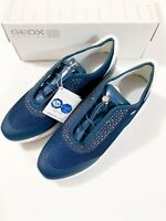 GEOX Women's Girls D Ophira E Navy Blue Breathable Mesh Trainers Size UK 7.5