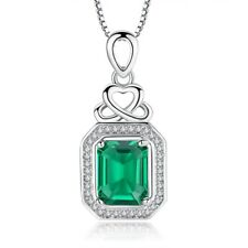 "New Hot Green Quartz Zircon Silver Women Jewelry Necklace Pendant 1 1/8""  NL106"