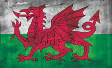 COOL WELSH DRAGON FLAG CYMRU GRUNGE - vinyl wall,car,van decal sticker