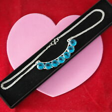 """Beautiful 925 Silver Necklace With Faceted Blue Topaz 11.8 Gr. 14"""" Inches Long"""