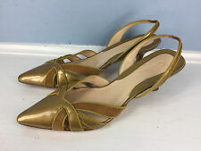 Cole Haan Patent Leather Slingblack D'Orsay EUC Gold Yellow 8 Career Cocktail