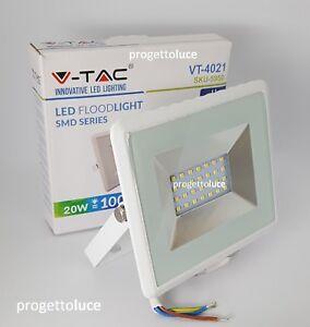 V-Tac Faro Proiettore LED SMD 20W Ultra Sottile Esterno Colore Bianco 20W= 100W