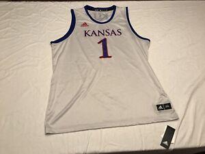 NCAA Adidas Kansas Jayhawks #1 Swingman Jersey White Size 2XL Cream EC4398 ROCK