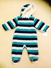 LITTLE ME INFANT BABY BOYS QUILTED BLUE WINTER JUMPSUIT WITH LINING 3-6 Months