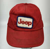 Vintage 1980's JEEP Square Patch Dealer Mesh Trucker Hat Cap Red Snapback F