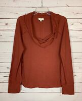 Umgee Boutique Women's M Medium Rust Waffle Thermal Cowl Neck Fall Top Shirt