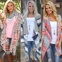 Womens Irregular Waterfall Cardigan Sweater Poncho Shawl Coat Jacket Outwear Top