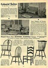 1933 PAPER AD Heywood Wakefield Chairs Furniture Ladderr Back Wicker Fibre Seat