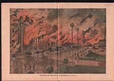 Fire Incendie Exposition internationale de Bruxelles Brussels 1910 ILLUSTRATION