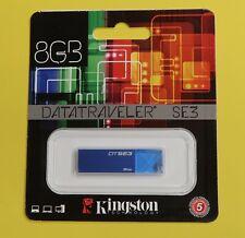 KINGSTON DATATRAVELER SE3 USB Flash Pen Drive 8GB USB 2.0 DTSE3 Blue Brand New