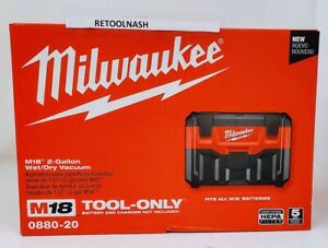 Milwaukee 0880-20 M18 2-Gallon Wet/Dry Vacuum (Tool Only)