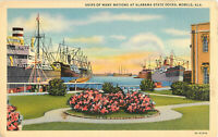 Postcard Ships Of Many Nations At Alabama State Docks, Mobile, AL