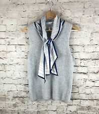 Anthropologie Moth Sleeveless Sweater Medium Gray White Blue Attached Scarf Med