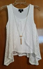 IZ Buyer Women's Tank top with lace and necklace X-Small New With Tags