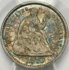 😱😍PCGS🌈 MS65🌈🗽 1870 SEATED LIBERTY HALF DIME