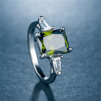 Women 925 Silver Wedding Engagement Ring Princess Cut Peridot Ring Size 6-10