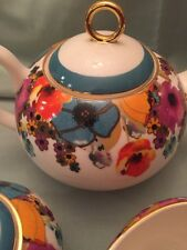 One Grace TeaWare teapot w/ Multi Color Flowers-new,free Shipping