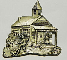Amish 3D Boy & Girl w Dog Playing detailed School House Pewter Magnetic