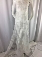 Wholesale fabric / By Roll 20 Yard / Lace Fabric Embroidered With Sequins White