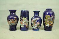 lot 4 vintage small Japanese cobalt blue flower vases  pheasant bird cart