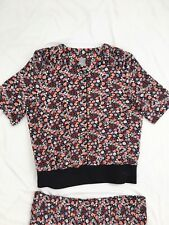 Ladies Top & Pleated Skirt Ensemble Size 16 Black Red White  Pink Floral Flower