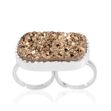 Drusy Quartz Ring in Sterling  Silver, free size