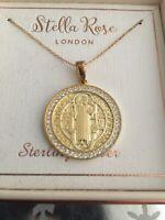❤️Stella Rose 18k Gold Vermeil Sterling 925 CZ San Benito Saint Benedict Medal