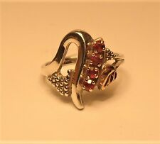 Black Hills Gold & Silver Ring with 4 Red Stone Size 8 1/4