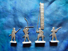 Plats d'étain OLD - flat tin - Zinnfiguren - Lot de 4 samouraïs (japon médiéval)