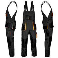 Bib and Brace Overalls MENS WORK TROUSERS Knee Pad Multi Pocket Dungarees NEW