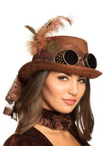 Deluxe Brown Steampunk Top Hat with Net and Goggles