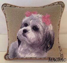 "Shih Tzu Dog Needlepoint Pillow 9""X9"" NWT"