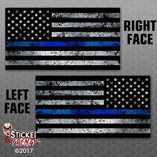 "Thin Blue Line Flag Sticker 2 Pack ""GRUNGE"" Police USA Vinyl Decal Lives Matter"
