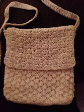 Vintage Off White Crocheted Hobo Purse