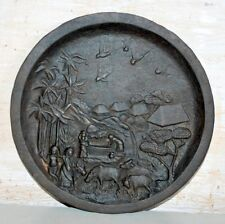 Antique Old Original Rare Cast Iron Indian Village Scene Plate Tray Collectible