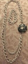 Pre-owned Silver Double Link Chain & Black Crystal Flower Necklace Bracelet Pin