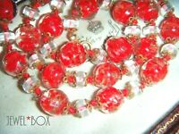 VINTAGE ART DECO RED VENETIAN MURANO SOMMERSO Aventurine GLITTER BEAD NECKLACE