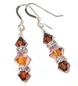 2-tone BROWN TOPAZ Crystal Earrings Sterling Silver Dangle Swarovski Elements