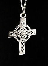"""925 Sterling Silver Celtic Cross Pendant Necklace and 18"""" Chain Easter Gift"""
