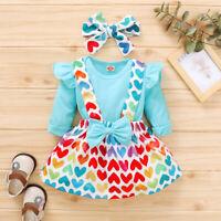 Newborn Baby Girl 3PCS Clothes Jumpsuit Romper Heart Skirt Headband Outfits Set